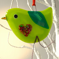Lime Green fused glass bird with heart belly