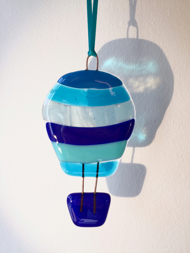 Fused Glass Blue Hot Air Balloon