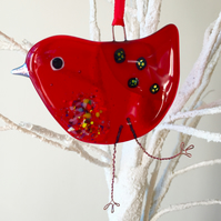 Red Fused Glass Bird