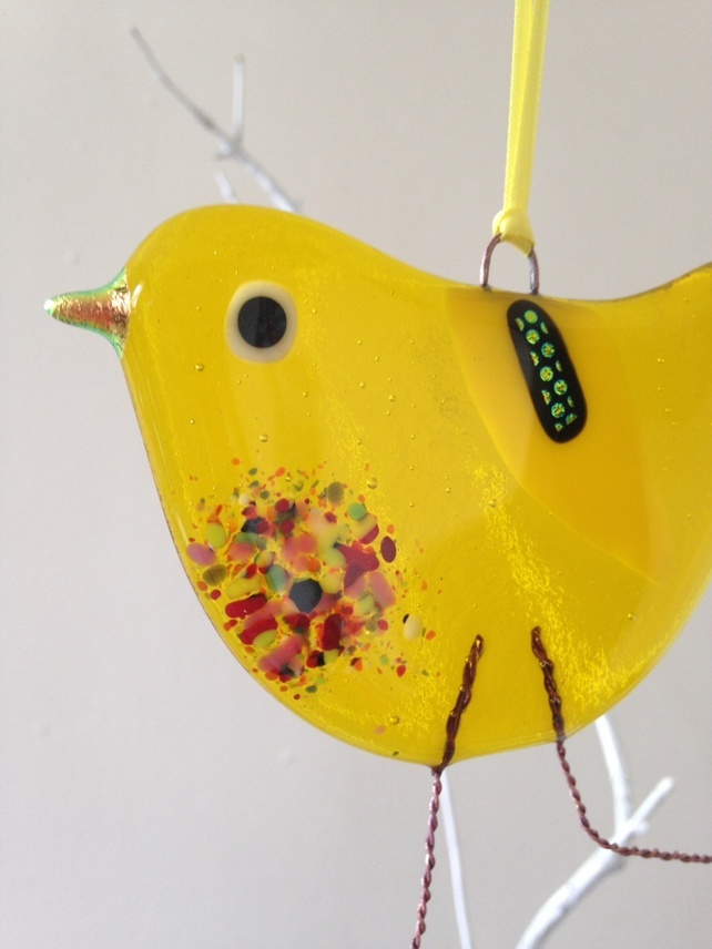 Yellow fused glass bird