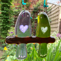 Fused glass Love Birds