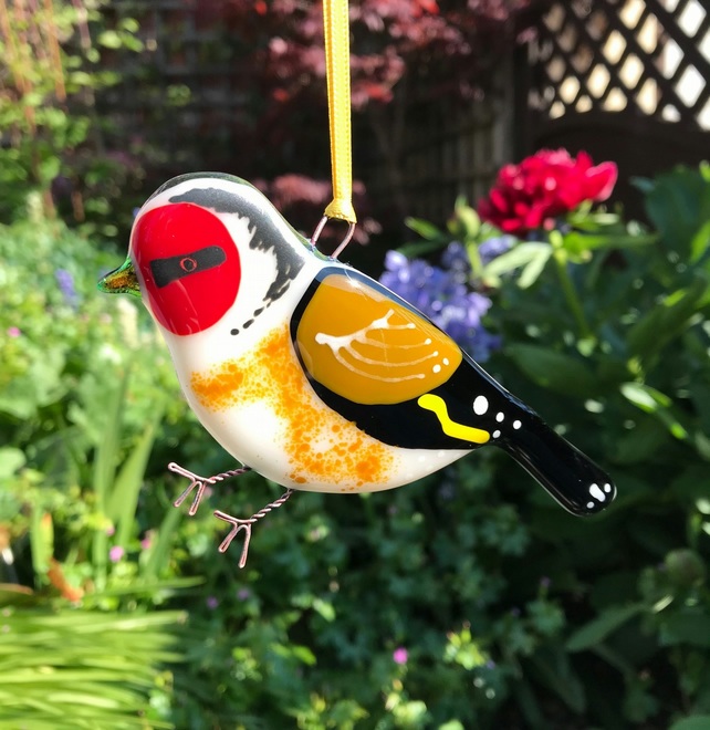 Fused glass Goldfinch