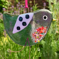 Lilac fused glass bird