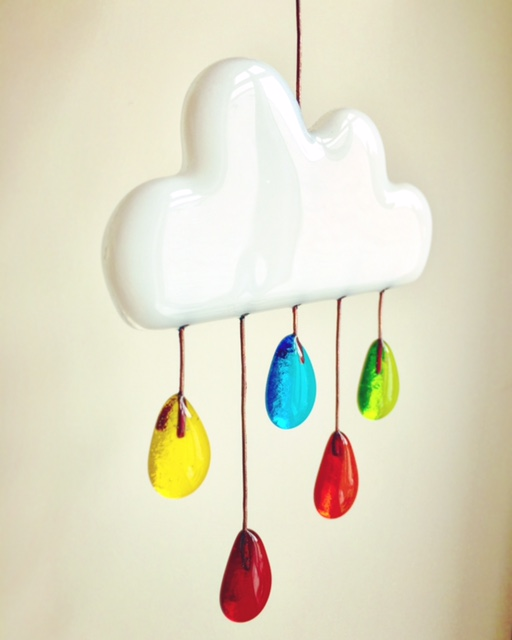 Fused glass cloud with rainbow raindrops
