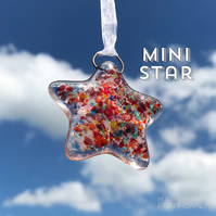 MINI Multicoloured Fused Glass Star