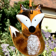 New Amber Fused Glass Fox