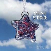 MINI Purple & Pink Fused Glass Star