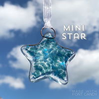 MINI Dark Aqua & Blue Fused Glass Star