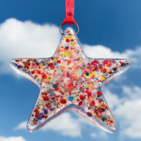 Multicoloured Fused Glass Star