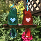 Fused glass Love Birds - Turquoise & Orange