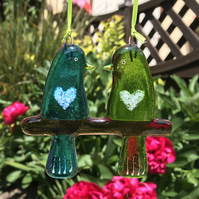 Fused glass Love Birds - Turquoise & Green
