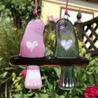 Fused glass Love Birds - Pink & Lilac