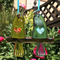 Fused glass Love Birds - Yellow & Pale Aquamarine