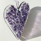 Purple & Lilac Fused Glass Heart
