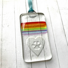 Fused glass rainbow paw print and heart hanger for Moorlands Dog Rescue