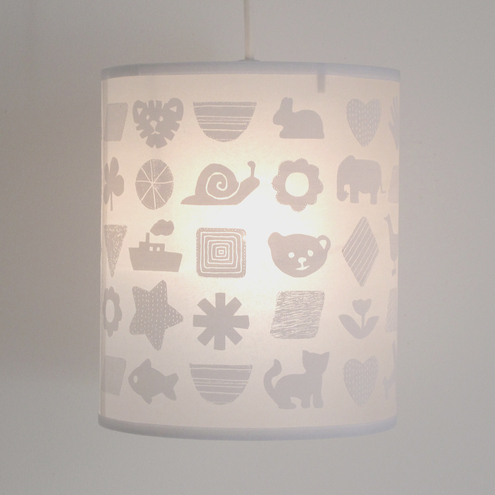 Childrens Lamp Shade In White Folksy, White Childrens Lampshade