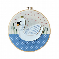 Swanning Around Embroidery Hoop