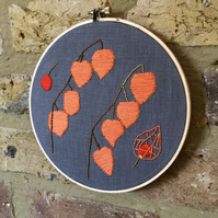 Chinese Lantern Plant Embroidery Hoop Art
