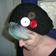 Chunky Slouch Hat with vintage buttons!