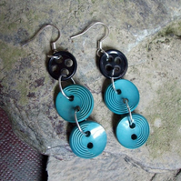 Art deco button drop earrings (reserved for Waitress78)