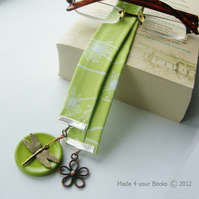Dandelion & Dragonfly Fabric Bookmark - Lime
