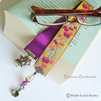 Plum Spring blossom embroidery ribbon bookmark