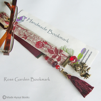 Garden Rose Embroidery ribbon bookmark