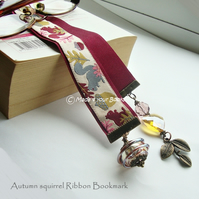Autumn squirrel embroidery ribbon bookmark