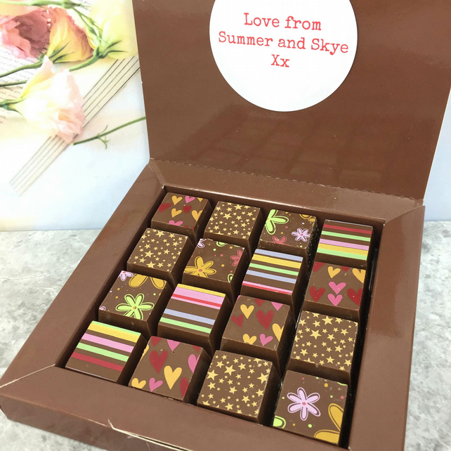 Personalised Message Mosaic Chocolate Gift with Flowers, Hearts, Stripes, Stars