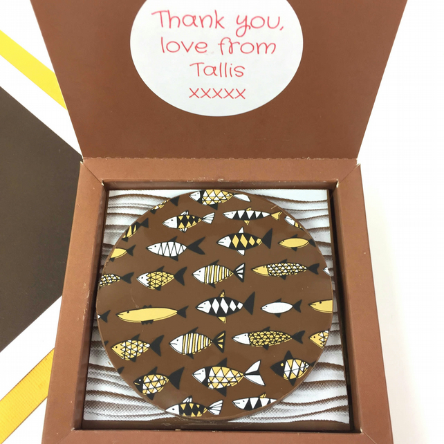 Personalised Message Chocolate Gift with Fish Design