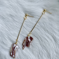 Marie, Purple and Gold Freshwater Pearl Drop Earrings