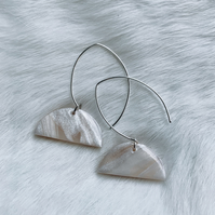 Olivia, White and Silver Polymer Clay Marble Earring