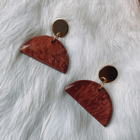 Red Marble Polymer Clay and Gold Semi Circle Earring