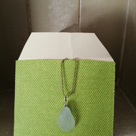 Pretty tear drop sea glass necklace S67