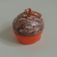 Novelty clay charms Polymer clay cupcake charm with added sprinkles