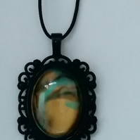 Marble clay glass pendant