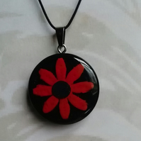 Wooden clay pendant