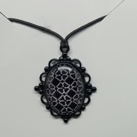 Black and white patterned pendant