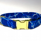 Blue Wave Dog Collar with Gold Hardware