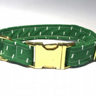 Green Print Dog Collar with Gold Hardware