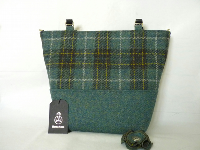 Green & Gold Check Harris Tweed Aysgarth Tote Bag, Shoulder Bag