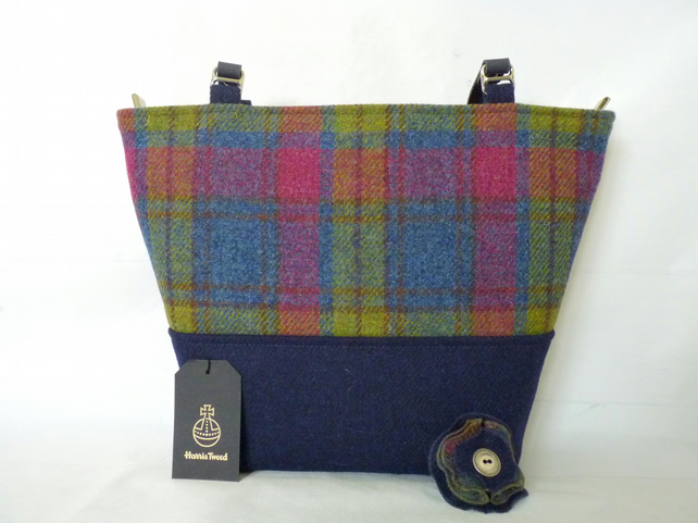 Blue & Multi Check Harris Tweed Aysgarth Tote Bag, Shoulder Bag