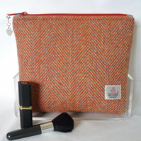 Harris Tweed Cosmetic Bag - Orange Herringbone