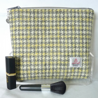 Harris Tweed Cosmetic Bag -  Grey, Lemon and Cream Houndstooth Check