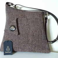 Harris Tweed crossbody bag, shoulder bag,  – brown herringbone