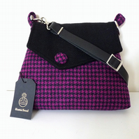 Harris Tweed  shoulder bag, crossbody bag, handbag – cerise and black check