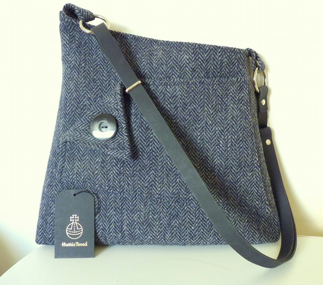 Harris Tweed crossbody bag, shoulder bag  – navy herringbone