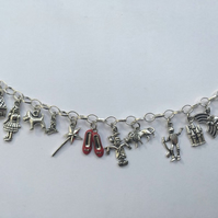 Wizard of oz charm bracelet dorothy ruby inspired bracelet.