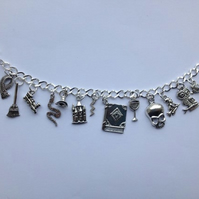 Wizard magic Harry potter inspired charm bracelet, fandom, silver plated,