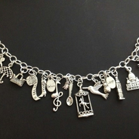 Mary poppins inspired charm bracelet. Geeky TV and film jewellery jewelry, gifts